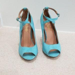 Hot tomato mint blue women's heels